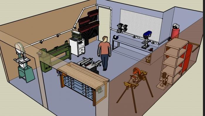 Taller de carpintería, modelo en computadora