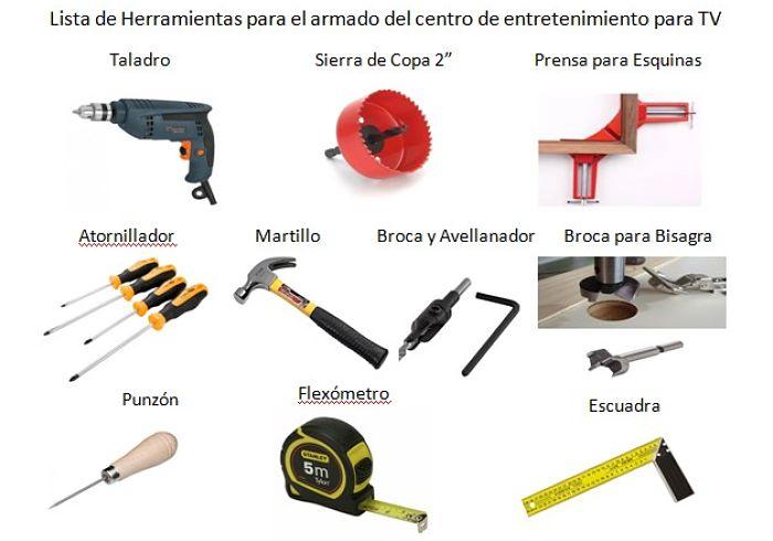 Lista de Herramientas para armar centro de entretenimiento