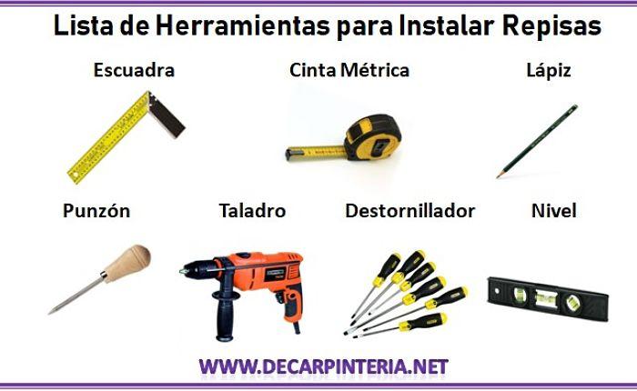 Herramientas para instalar repisas de madera