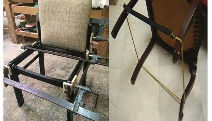 Restaurar Sillas usando sargentos y cuerdas