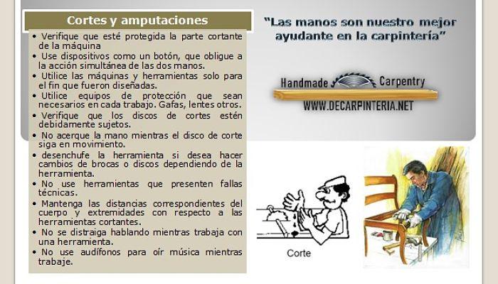 Prevención de accidentes con cortes y amputaciones.