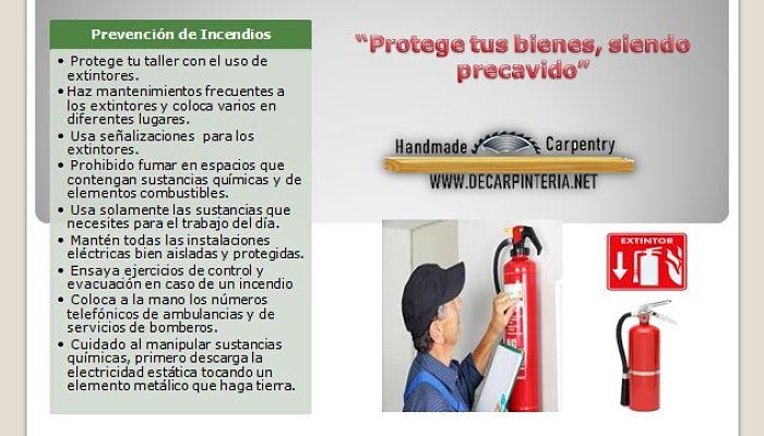 Prevención de accidentes, Incendios.