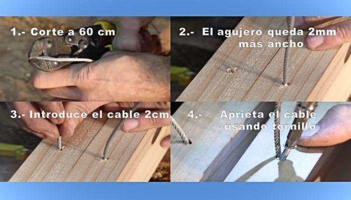 Corte y fijación de cable de acero para caballete plegable