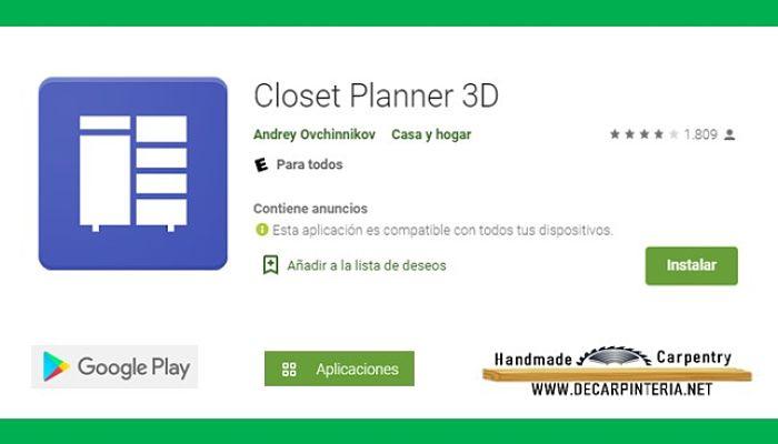 Aplicaciones para diseñar Closet Planner 3D