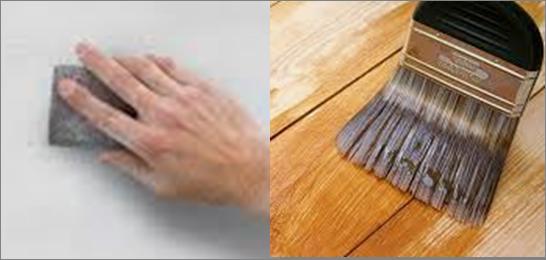 Lija y sellador antes del acabado con cera en la madera