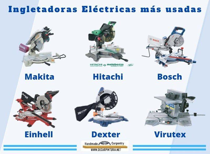 Ingletadoras más usadas: Hitachi, Makita, Bosch, Einhell, Dexter, Virutex
