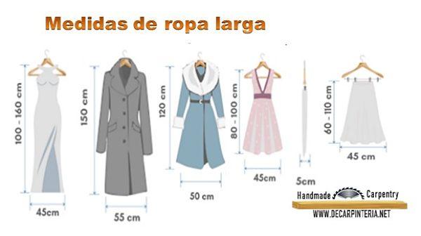 Medidas de ropa larga dentro de un clóset