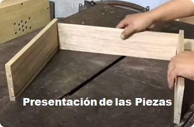 Presentación de las piezas de la gaveta