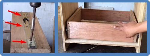 Presentamos el cajón y la tapa en el mueble y debería quedar así