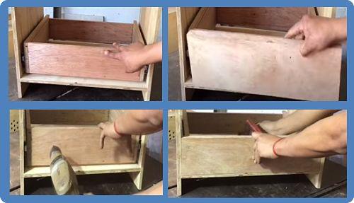 Proceso de colocación de tapa frontal del cajón con ayuda de taladro y prensa tipo G