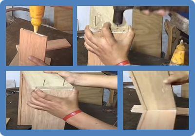 Proceso de encolado, fijación de clavos, para el cajón