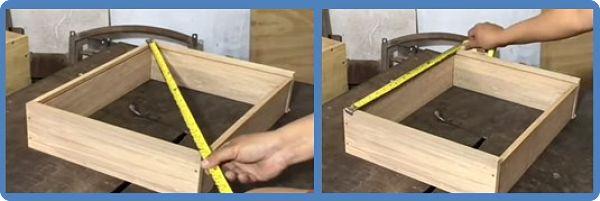 Rectificando que el cajón quede a escuadra, se mide su diagonal y sus aristas paralelas