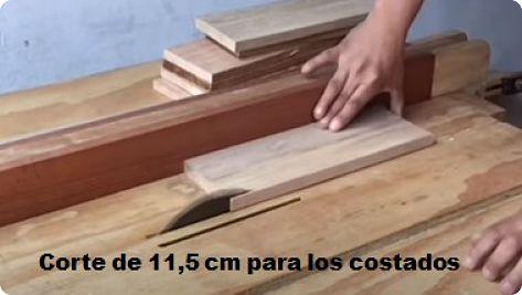 cortes de 11,5 de los costados del cajón