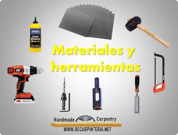 Materiales y herramientas usados para colocar tornillos invisibles