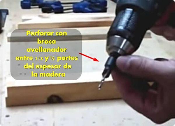Perforar con avellanador entre 3 partes del espesor