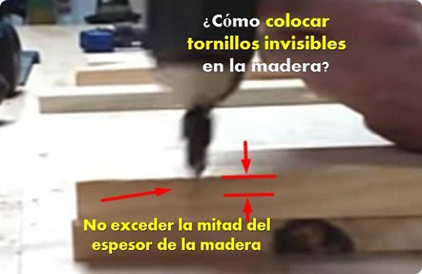 como colocar tornillos invisibles en la madera, primer paso regular la profundidad donde irá el tornillo
