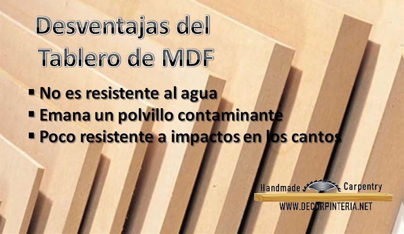 Desventajas del tablero de MDF
