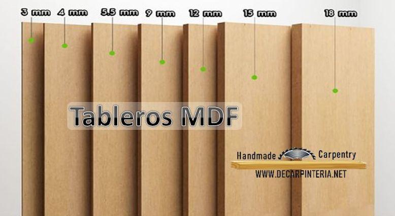 Medidas comerciales del espesor de el Tablero de MDF