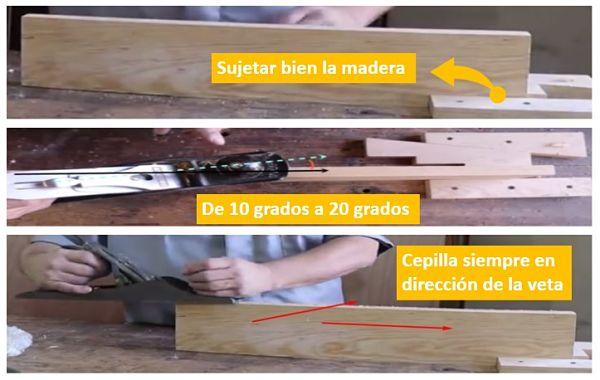 Cantear madera con cepillo o Garlopa, 3 Pasos básicos