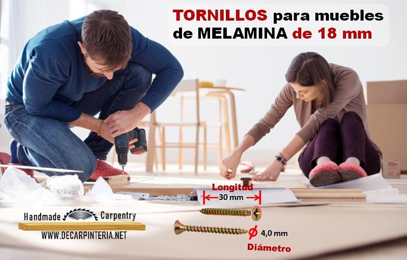 Tornillos para unir tableros de melamina de 18 mm caso Unión de sus laterales