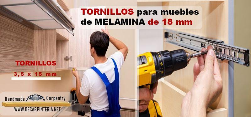 Tornillos para unir tableros de melamina de 18 mm caso correderas telescópicas y bisagras