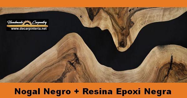 Nogal Negro trabajado con resina epoxica para madera